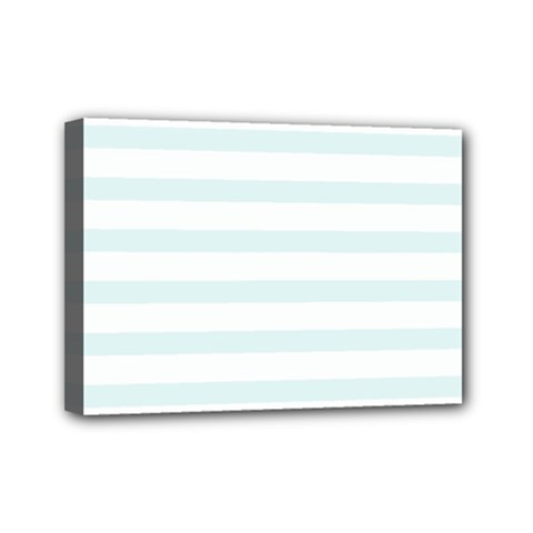 Baby Blue And White Stripes Mini Canvas 7  X 5  by timelessartoncanvas