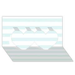 Baby Blue And White Stripes Twin Hearts 3d Greeting Card (8x4)  by timelessartoncanvas