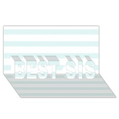 Baby Blue And White Stripes Best Sis 3d Greeting Card (8x4)  by timelessartoncanvas