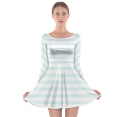 Baby Blue And White Stripes Long Sleeve Skater Dress by timelessartoncanvas