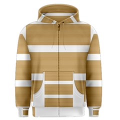 Beige/ Brown and White Stripes Design Men s Zipper Hoodie by timelessartoncanvas
