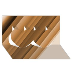 Metallic Brown/neige Stripes Twin Hearts 3d Greeting Card (8x4)  by timelessartoncanvas