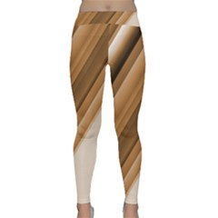 Metallic Brown/neige Stripes Yoga Leggings by timelessartoncanvas