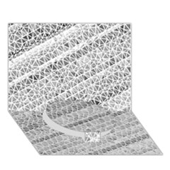 Silver Abstract And Stripes Circle Bottom 3d Greeting Card (7x5)  by timelessartoncanvas