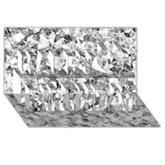 Silver Abstract Design Happy Birthday 3d Greeting Card (8x4)  by timelessartoncanvas