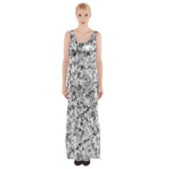 Silver Abstract Design Maxi Thigh Split Dress by timelessartoncanvas