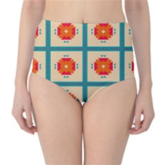 Shapes In Squares Pattern High Waist Bikini Bottoms by LalyLauraFLM