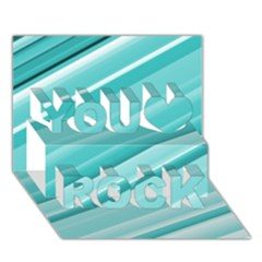 Teal And White Fun You Rock 3d Greeting Card (7x5)  by timelessartoncanvas