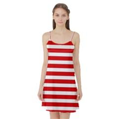 Red and White Stripes Satin Night Slip by timelessartoncanvas