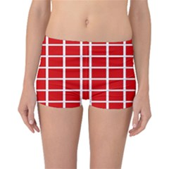 Red Cubes Stripes Boyleg Bikini Bottoms