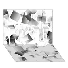Gray And Silver Cubes Abstract I Love You 3d Greeting Card (7x5)  by timelessartoncanvas