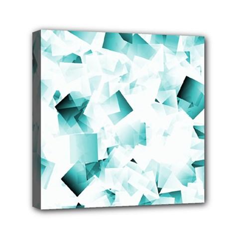 Modern Teal Cubes Mini Canvas 6  X 6  by timelessartoncanvas