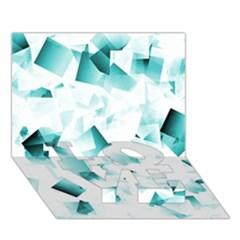 Modern Teal Cubes Love Bottom 3d Greeting Card (7x5)  by timelessartoncanvas