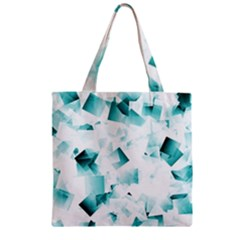 Modern Teal Cubes Zipper Grocery Tote Bag by timelessartoncanvas