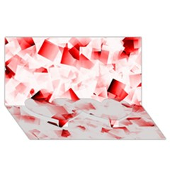 Modern Red Cubes Twin Heart Bottom 3d Greeting Card (8x4)  by timelessartoncanvas