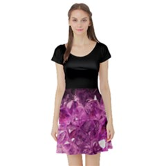 Amethyst Stone Of Healing Short Sleeve Skater Dress by FunWithFibro