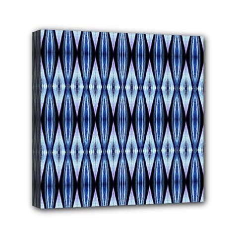 Blue White Diamond Pattern  Mini Canvas 6  X 6  by Costasonlineshop