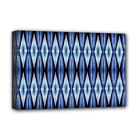 Blue White Diamond Pattern  Deluxe Canvas 18  X 12   by Costasonlineshop