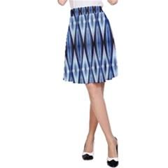 Blue White Diamond Pattern  A Line Skirt by Costasonlineshop