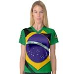 Brazil Women s V-Neck Sport Mesh Tee