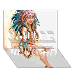 Indian 17 You Are Invited 3d Greeting Card (7x5)  by indianwarrior