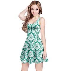 Emerald Green Damask Pattern Reversible Sleeveless Dress by Zandiepants