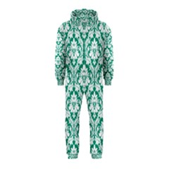 White On Emerald Green Damask Hooded Jumpsuit (kids) by Zandiepants