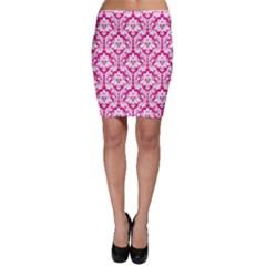 Hot Pink Damask Pattern Bodycon Skirt by Zandiepants