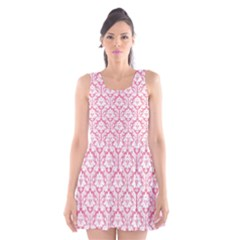 soft Pink Damask Pattern Scoop Neck Skater Dress by Zandiepants