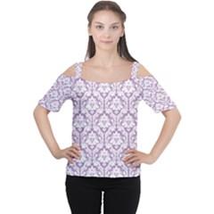 Lilac Damask Pattern Women s Cutout Shoulder Tee by Zandiepants