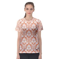 Nectarine Orange Damask Pattern Women s Sport Mesh Tee by Zandiepants