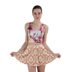 Nectarine Orange Damask Pattern Mini Skirt by Zandiepants