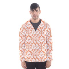 White On Orange Damask Hooded Wind Breaker (men) by Zandiepants
