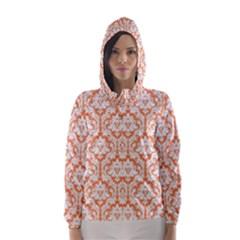 White On Orange Damask Hooded Wind Breaker (women) by Zandiepants