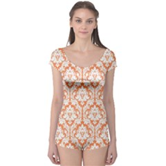 Nectarine Orange Damask Pattern Boyleg Leotard (ladies) by Zandiepants