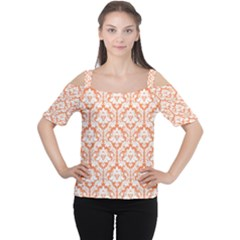 Nectarine Orange Damask Pattern Women s Cutout Shoulder Tee by Zandiepants