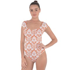 Nectarine Orange Damask Pattern Short Sleeve Leotard (ladies) by Zandiepants