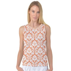 Nectarine Orange Damask Pattern Women s Basketball Tank Top by Zandiepants