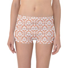 Nectarine Orange Damask Pattern Boyleg Bikini Bottoms by Zandiepants