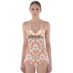 Nectarine Orange Damask Pattern Cut Out One Piece Swimsuit by Zandiepants