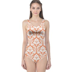Nectarine Orange Damask Pattern One Piece Swimsuit by Zandiepants
