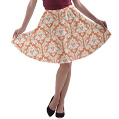 Nectarine Orange Damask Pattern A Line Skater Skirt by Zandiepants