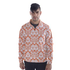 White On Orange Damask Wind Breaker (men) by Zandiepants