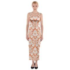 Nectarine Orange Damask Pattern Fitted Maxi Dress by Zandiepants
