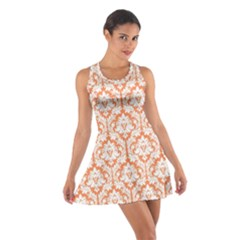 Nectarine Orange Damask Pattern Cotton Racerback Dress by Zandiepants