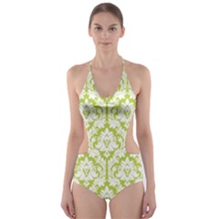 Spring Green Damask Pattern Cut-Out One Piece Swimsuit by Zandiepants