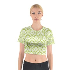 Spring Green Damask Pattern Cotton Crop Top by Zandiepants