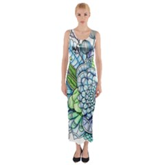 Peaceful Flower Garden 2 Fitted Maxi Dress by Zandiepants