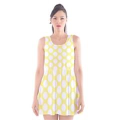 Yellow Polkadot Scoop Neck Skater Dress by Zandiepants