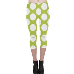 Spring Green Polkadot Capri Leggings  by Zandiepants